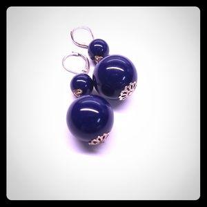 Jewelry - Navy Blue Bauble Drop Earrings for Pierced Ears